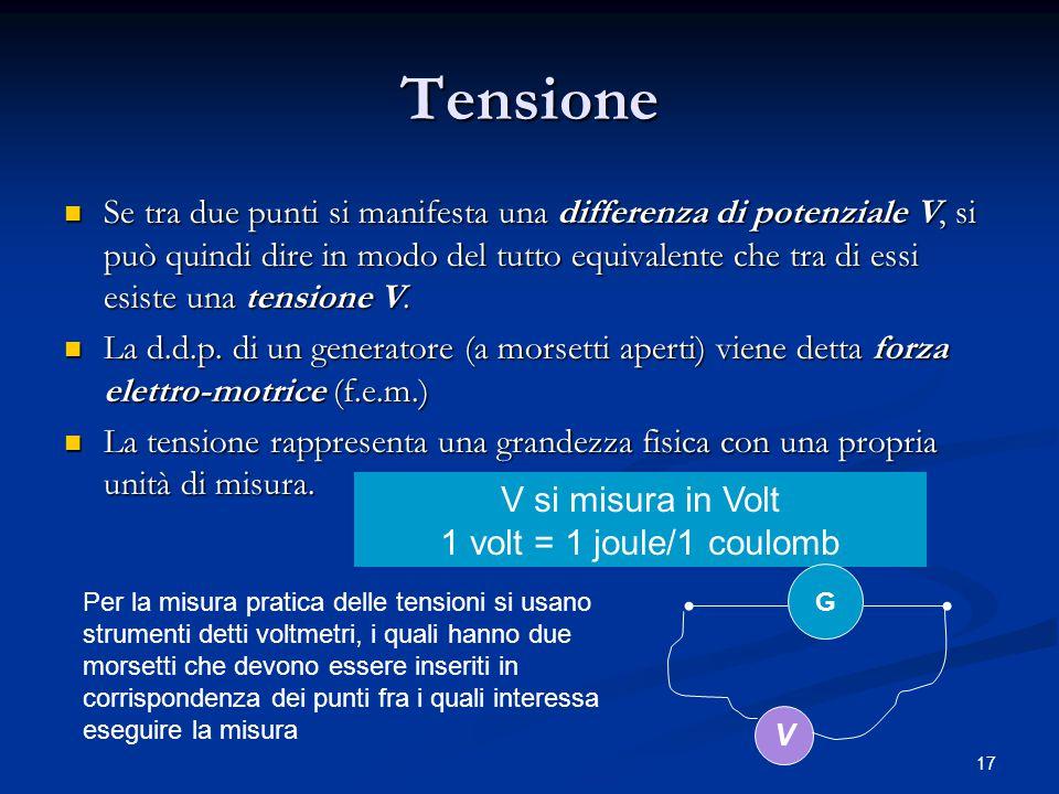 17 Tensione Se tra due punti si manifesta una differenza di potenziale V, si può quindi dire in modo del tutto equivalente che tra di essi esiste una