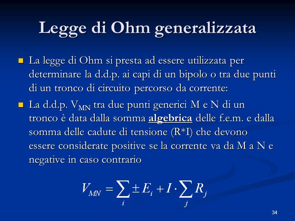 34 Legge di Ohm generalizzata La legge di Ohm si presta ad essere utilizzata per determinare la d.d.p. ai capi di un bipolo o tra due punti di un tron