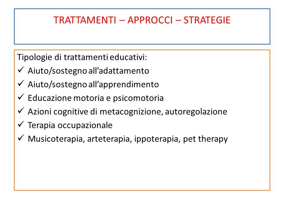 TRATTAMENTI – APPROCCI – STRATEGIE Tipologie di trattamenti educativi: Aiuto/sostegno all'adattamento Aiuto/sostegno all'apprendimento Educazione moto
