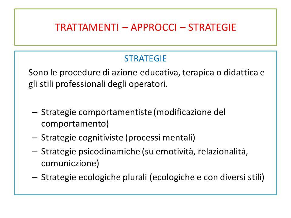 TRATTAMENTI – APPROCCI – STRATEGIE STRATEGIE Sono le procedure di azione educativa, terapica o didattica e gli stili professionali degli operatori. –