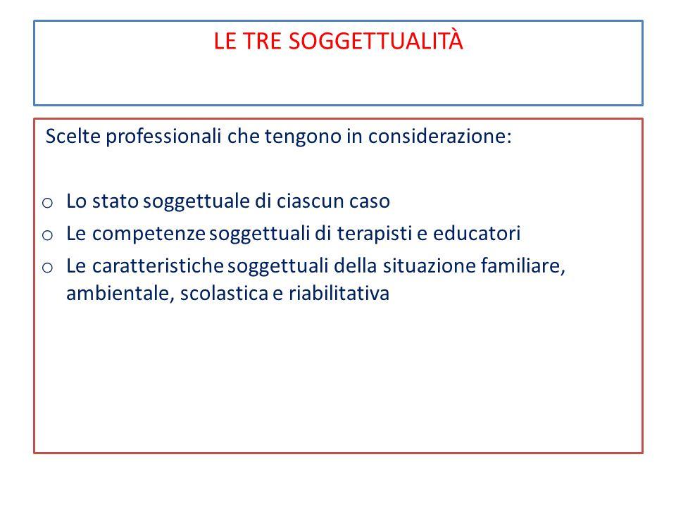 LE TRE SOGGETTUALITÀ Lo stato soggettuale di ciascun caso: stato funzionale, età, gravità, disponibilità, cooperazione, trattamenti pregressi, scolarizzazione.