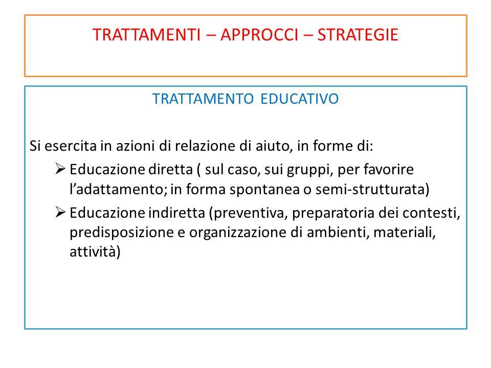 TRATTAMENTI – APPROCCI – STRATEGIE TRATTAMENTO EDUCATIVO Si esercita in azioni di relazione di aiuto, in forme di:  Educazione diretta ( sul caso, su