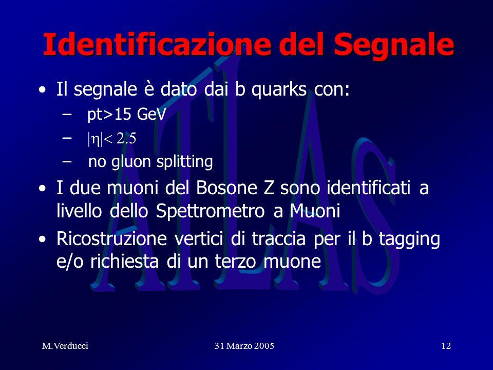 M.Verducci31 Marzo 200512 Identificazione del Segnale Il segnale è dato dai b quarks con: –pt>15 GeV –  – no gluon splitting I due muoni del Bosone Z sono identificati a livello dello Spettrometro a Muoni Ricostruzione vertici di traccia per il b tagging e/o richiesta di un terzo muone