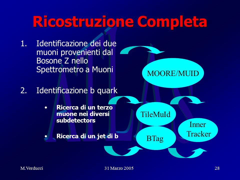 M.Verducci31 Marzo 200528 Ricostruzione Completa 1.Identificazione dei due muoni provenienti dal Bosone Z nello Spettrometro a Muoni 2.Identificazione b quark Ricerca di un terzo muone nei diversi subdetectors Ricerca di un jet di b MOORE/MUID BTag TileMuId Inner Tracker