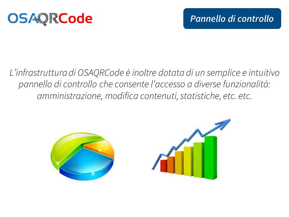 L'infrastruttura di OSAQRCode è inoltre dotata di un semplice e intuitivo pannello di controllo che consente l'accesso a diverse funzionalità: amministrazione, modifica contenuti, statistiche, etc.