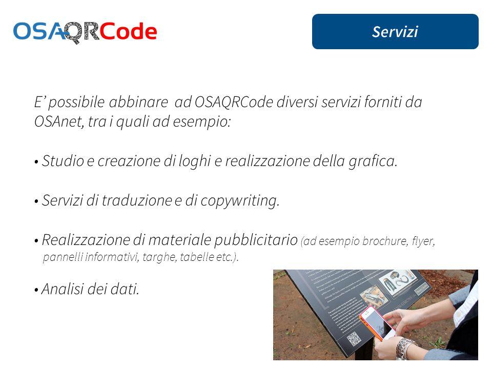 E' possibile abbinare ad OSAQRCode diversi servizi forniti da OSAnet, tra i quali ad esempio: Studio e creazione di loghi e realizzazione della grafica.