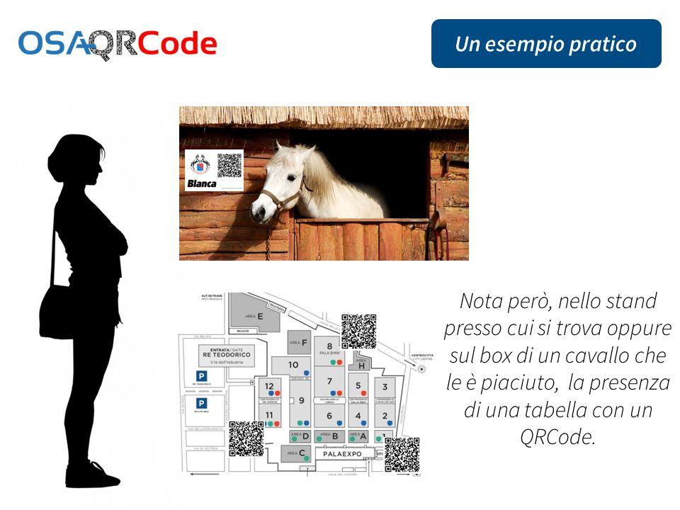 Nota però, nello stand presso cui si trova oppure sul box di un cavallo che le è piaciuto, la presenza di una tabella con un QRCode.