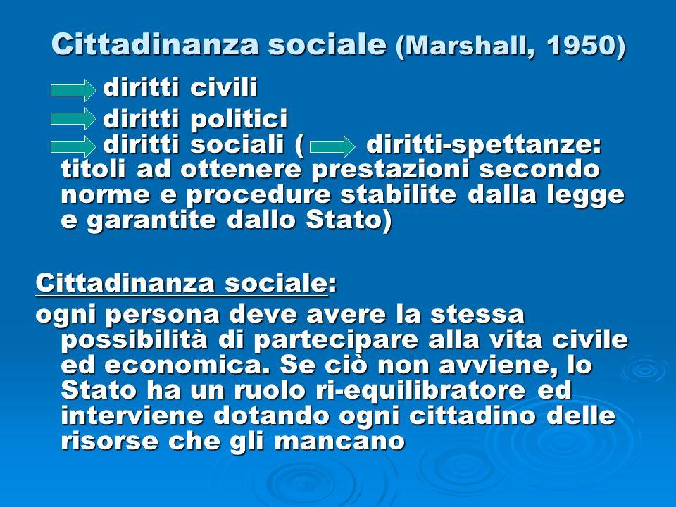 Cittadinanza sociale (Marshall, 1950) diritti civili diritti politici diritti sociali ( diritti-spettanze: titoli ad ottenere prestazioni secondo norm