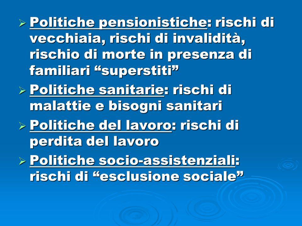  Politiche pensionistiche: rischi di vecchiaia, rischi di invalidità, rischio di morte in presenza di familiari superstiti  Politiche sanitarie: rischi di malattie e bisogni sanitari  Politiche del lavoro: rischi di perdita del lavoro  Politiche socio-assistenziali: rischi di esclusione sociale