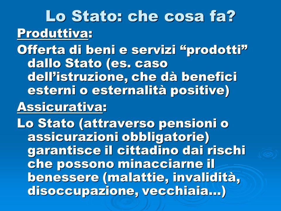 """Lo Stato: che cosa fa? Produttiva: Offerta di beni e servizi """"prodotti"""" dallo Stato (es. caso dell'istruzione, che dà benefici esterni o esternalità p"""