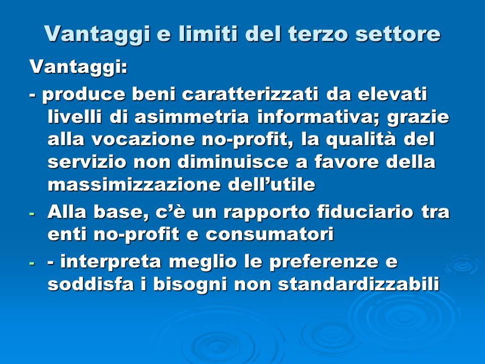 Vantaggi e limiti del terzo settore Vantaggi: - produce beni caratterizzati da elevati livelli di asimmetria informativa; grazie alla vocazione no-pro