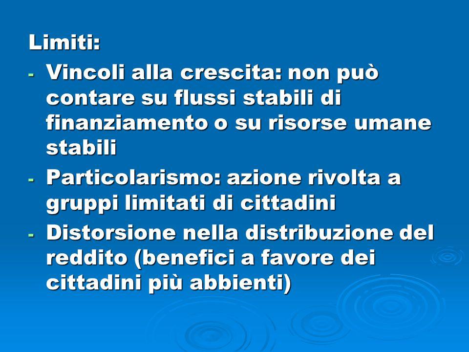 Limiti: - Vincoli alla crescita: non può contare su flussi stabili di finanziamento o su risorse umane stabili - Particolarismo: azione rivolta a grup