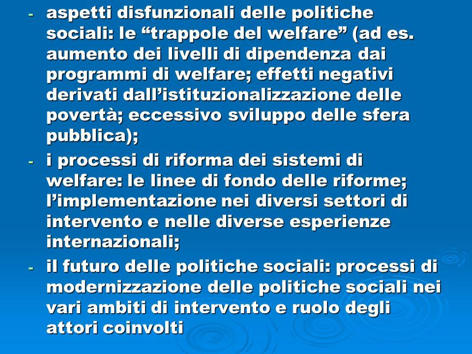 """- aspetti disfunzionali delle politiche sociali: le """"trappole del welfare"""" (ad es. aumento dei livelli di dipendenza dai programmi di welfare; effetti"""