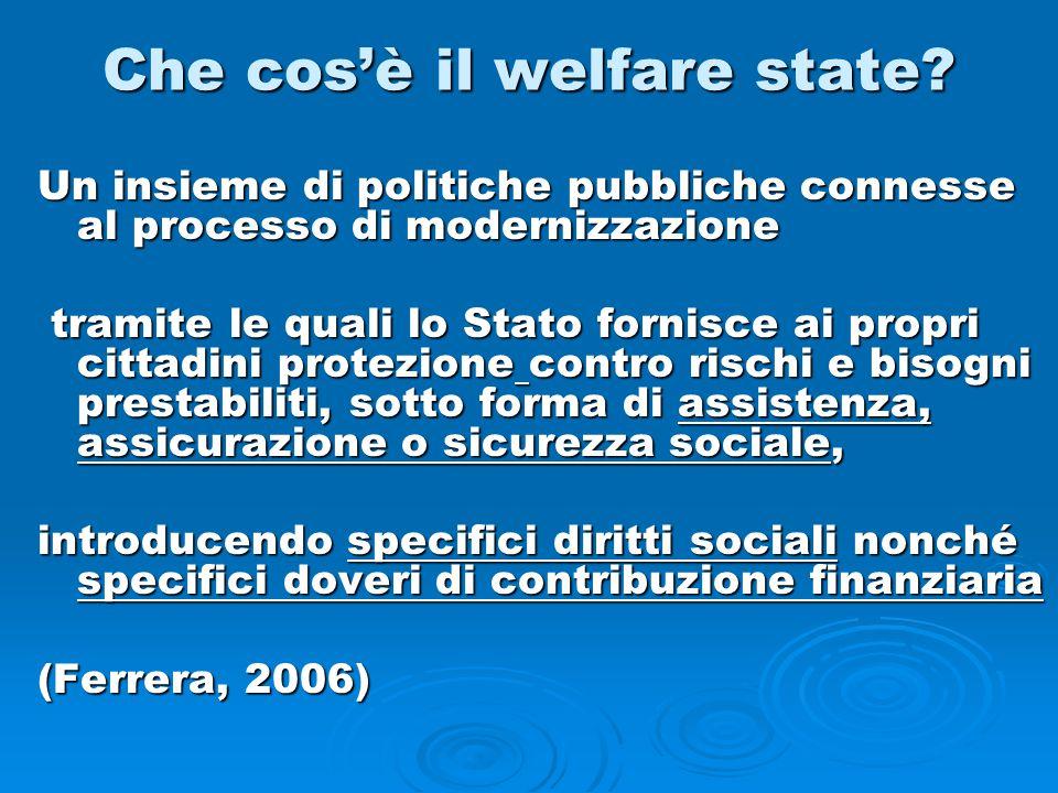 Che cos'è il welfare state? Un insieme di politiche pubbliche connesse al processo di modernizzazione tramite le quali lo Stato fornisce ai propri cit