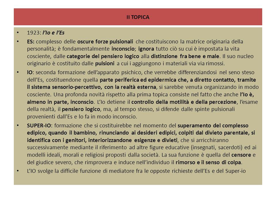 II TOPICA 1923: l'Io e l'Es ES: complesso delle oscure forze pulsionali che costituiscono la matrice originaria della personalità; è fondamentalmente