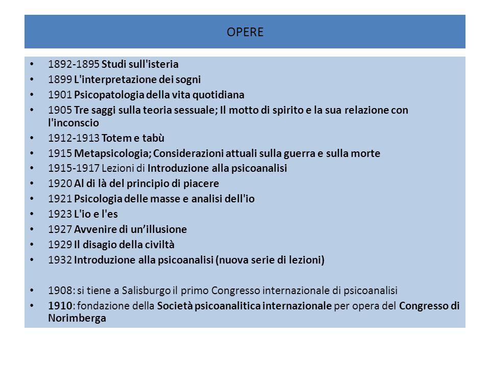 OPERE 1892-1895 Studi sull'isteria 1899 L'interpretazione dei sogni 1901 Psicopatologia della vita quotidiana 1905 Tre saggi sulla teoria sessuale; Il