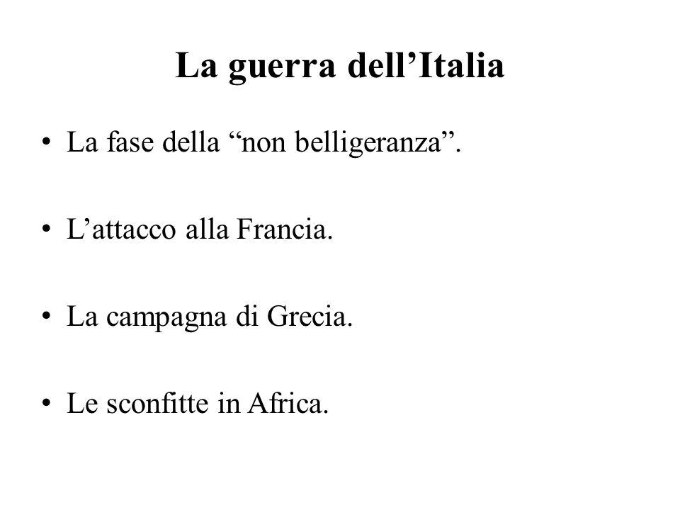 """La guerra dell'Italia La fase della """"non belligeranza"""". L'attacco alla Francia. La campagna di Grecia. Le sconfitte in Africa."""