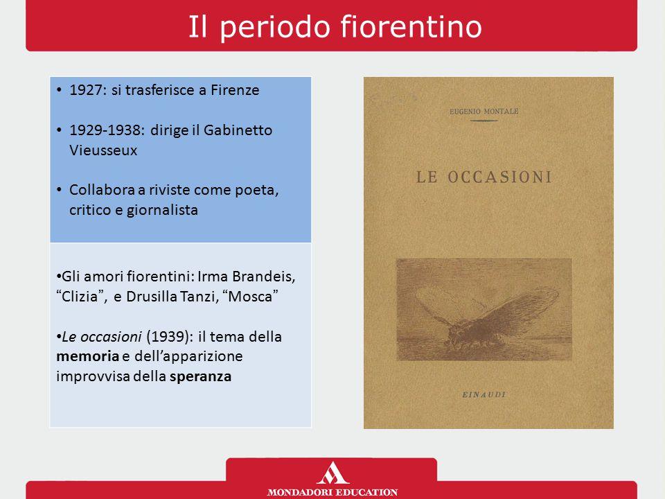 Il periodo fiorentino 1927: si trasferisce a Firenze 1929-1938: dirige il Gabinetto Vieusseux Collabora a riviste come poeta, critico e giornalista Gl