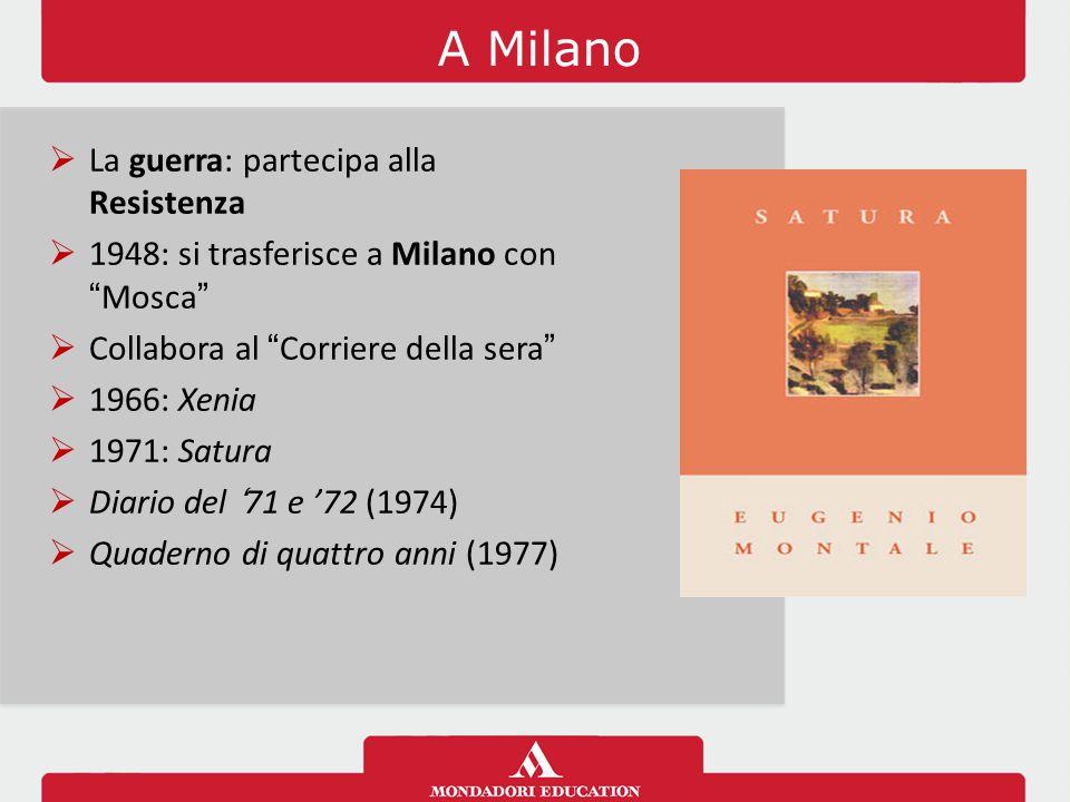 """A Milano  La guerra: partecipa alla Resistenza  1948: si trasferisce a Milano con """"Mosca""""  Collabora al """"Corriere della sera""""  1966: Xenia  1971:"""