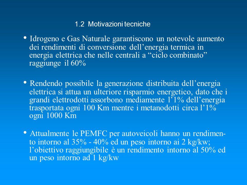 Idrogeno e Gas Naturale garantiscono un notevole aumento dei rendimenti di conversione dell'energia termica in energia elettrica che nelle centrali a ciclo combinato raggiunge il 60% Rendendo possibile la generazione distribuita dell'energia elettrica si attua un ulteriore risparmio energetico, dato che i grandi elettrodotti assorbono mediamente l'1% dell'energia trasportata ogni 100 Km mentre i metanodotti circa l'1% ogni 1000 Km Attualmente le PEMFC per autoveicoli hanno un rendimen- to intorno al 35% - 40% ed un peso intorno ai 2 kg/kw; l'obiettivo raggiungibile è un rendimento intorno al 50% ed un peso intorno ad 1 kg/kw 1.2 Motivazioni tecniche