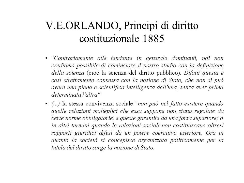 V.E.ORLANDO, Principi di diritto costituzionale 1885 Contrariamente alle tendenze in generale dominanti, noi non crediamo possibile di cominciare il nostro studio con la definizione della scienza (cioè la scienza del diritto pubblico).