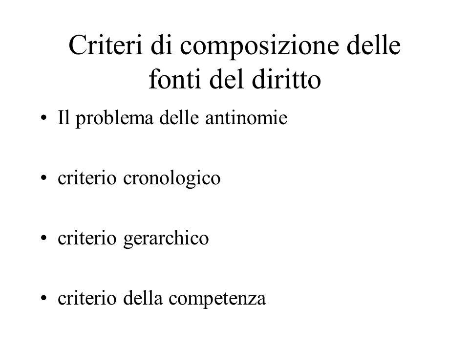 Criteri di composizione delle fonti del diritto Il problema delle antinomie criterio cronologico criterio gerarchico criterio della competenza