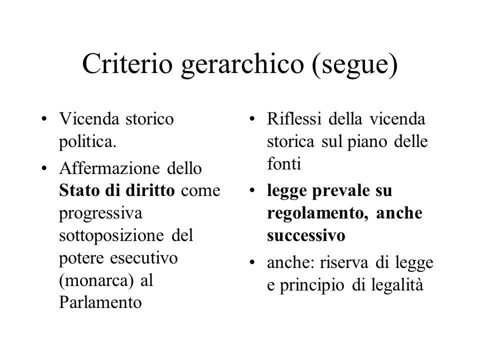 Criterio gerarchico (segue) Vicenda storico politica.