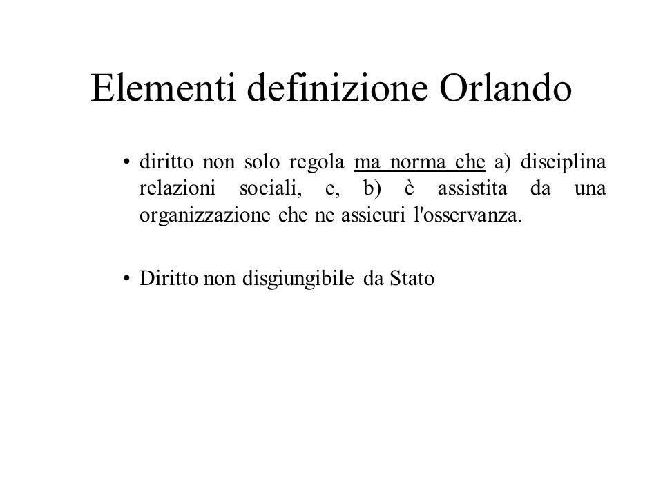 Elementi definizione Orlando diritto non solo regola ma norma che a) disciplina relazioni sociali, e, b) è assistita da una organizzazione che ne assicuri l osservanza.