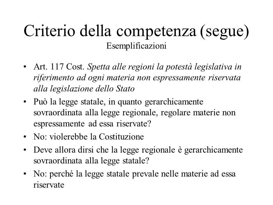 Criterio della competenza (segue) Esemplificazioni Art.