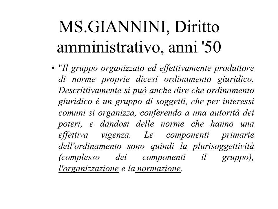 MS.GIANNINI, Diritto amministrativo, anni 50 Il gruppo organizzato ed effettivamente produttore di norme proprie dicesi ordinamento giuridico.