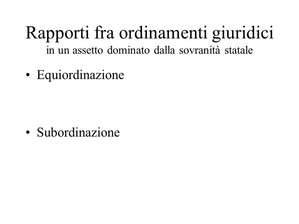 Rapporti fra ordinamenti giuridici in un assetto dominato dalla sovranità statale Equiordinazione Subordinazione