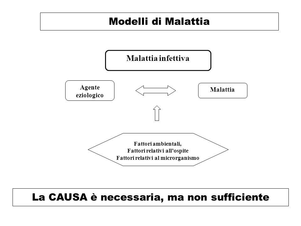 Modelli di Malattia Malattia infettiva Malattia Agente eziologico Fattori ambientali, Fattori relativi all'ospite Fattori relativi al microrganismo La CAUSA è necessaria, ma non sufficiente