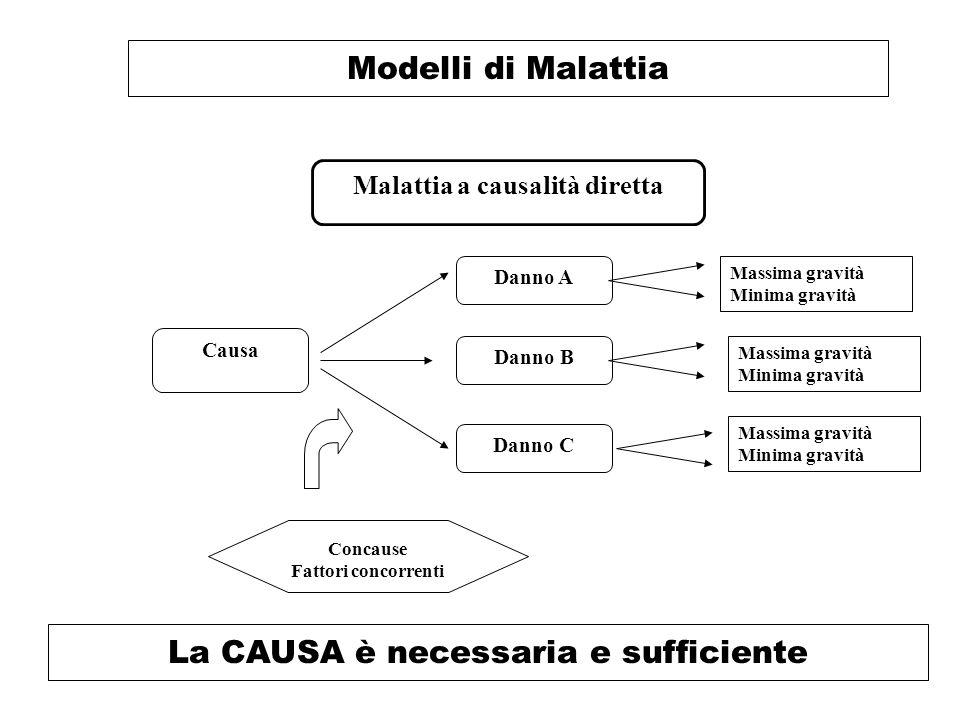 Modelli di Malattia Malattia a causalità diretta Danno A Concause Fattori concorrenti La CAUSA è necessaria e sufficiente Causa Danno B Danno C Massima gravità Minima gravità Massima gravità Minima gravità Massima gravità Minima gravità
