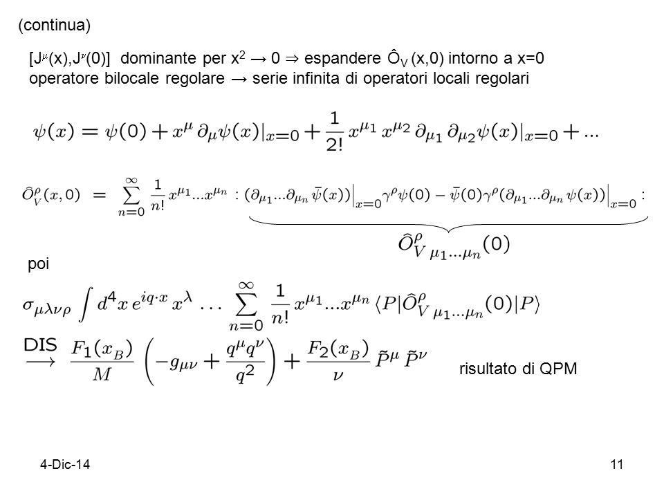 4-Dic-1411 [J  (x),J (0)] dominante per x 2 → 0 ⇒ espandere Ô V (x,0) intorno a x=0 operatore bilocale regolare → serie infinita di operatori locali regolari (continua) poi risultato di QPM