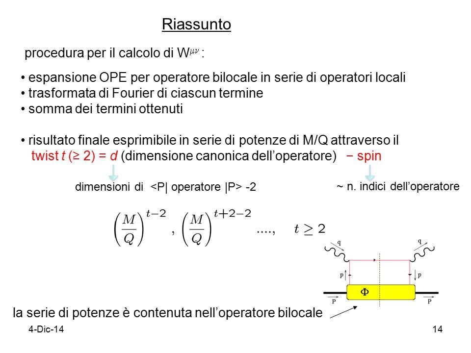 4-Dic-1414 Riassunto procedura per il calcolo di W   : espansione OPE per operatore bilocale in serie di operatori locali trasformata di Fourier di ciascun termine somma dei termini ottenuti risultato finale esprimibile in serie di potenze di M/Q attraverso il twist t (≥ 2) = d (dimensione canonica dell'operatore) − spin la serie di potenze è contenuta nell'operatore bilocale ~ n.