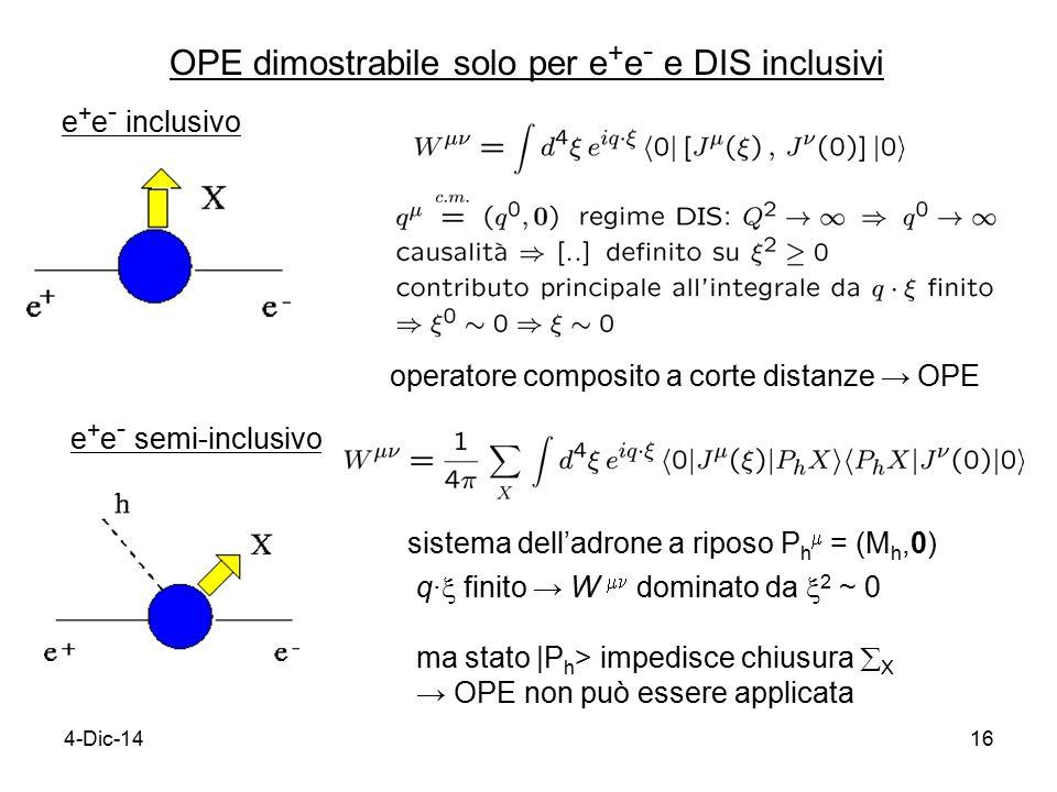 4-Dic-1416 OPE dimostrabile solo per e + e - e DIS inclusivi e + e - inclusivo operatore composito a corte distanze → OPE e + e - semi-inclusivo sistema dell'adrone a riposo P h  = (M h,0) q∙  finito → W  dominato da  2 ~ 0 ma stato |P h > impedisce chiusura  X → OPE non può essere applicata