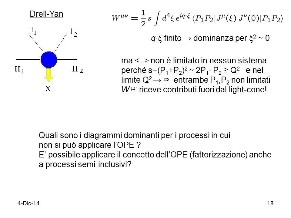 4-Dic-1418 Drell-Yan q∙  finito → dominanza per  2 ~ 0 ma non è limitato in nessun sistema perché s=(P 1 +P 2 ) 2 ~ 2P 1 ∙ P 2 ≥ Q 2 e nel limite Q 2 → ∞ entrambe P 1,P 2 non limitati W  riceve contributi fuori dal light-cone.