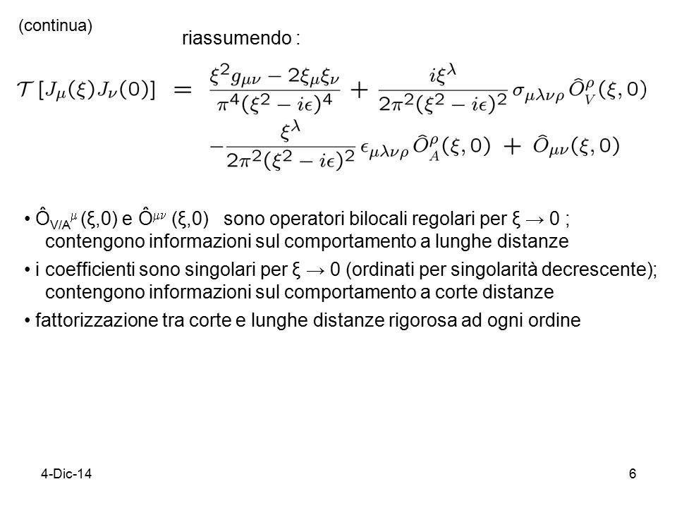 4-Dic-1427 Quantizzazione di teoria di campo sul light-cone regole di commutazione al tempo x 0 =t=0 evoluzione in x 0 regole di commutazione al tempo light-cone x + =0 evoluzione in x + variabili cinematiche x x -, x ⊥ momenti coniugati k k +, k ⊥ Hamiltoniana k 0 k-k- quanto di campo …..