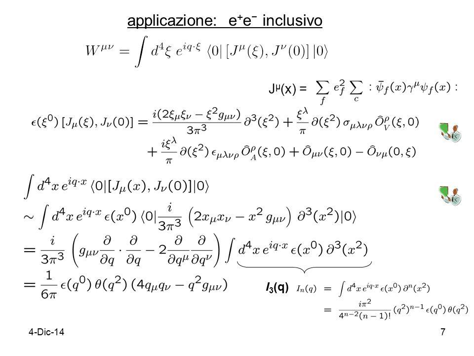4-Dic-147 applicazione: e + e − inclusivo J μ (x) = I 3 (q)