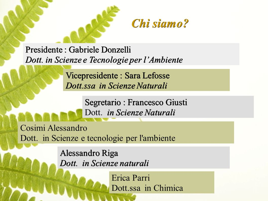 Chi siamo. Presidente : Gabriele Donzelli Dott.