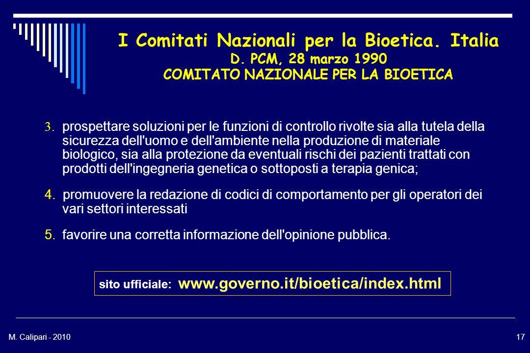 M. Calipari - 201017 I Comitati Nazionali per la Bioetica.