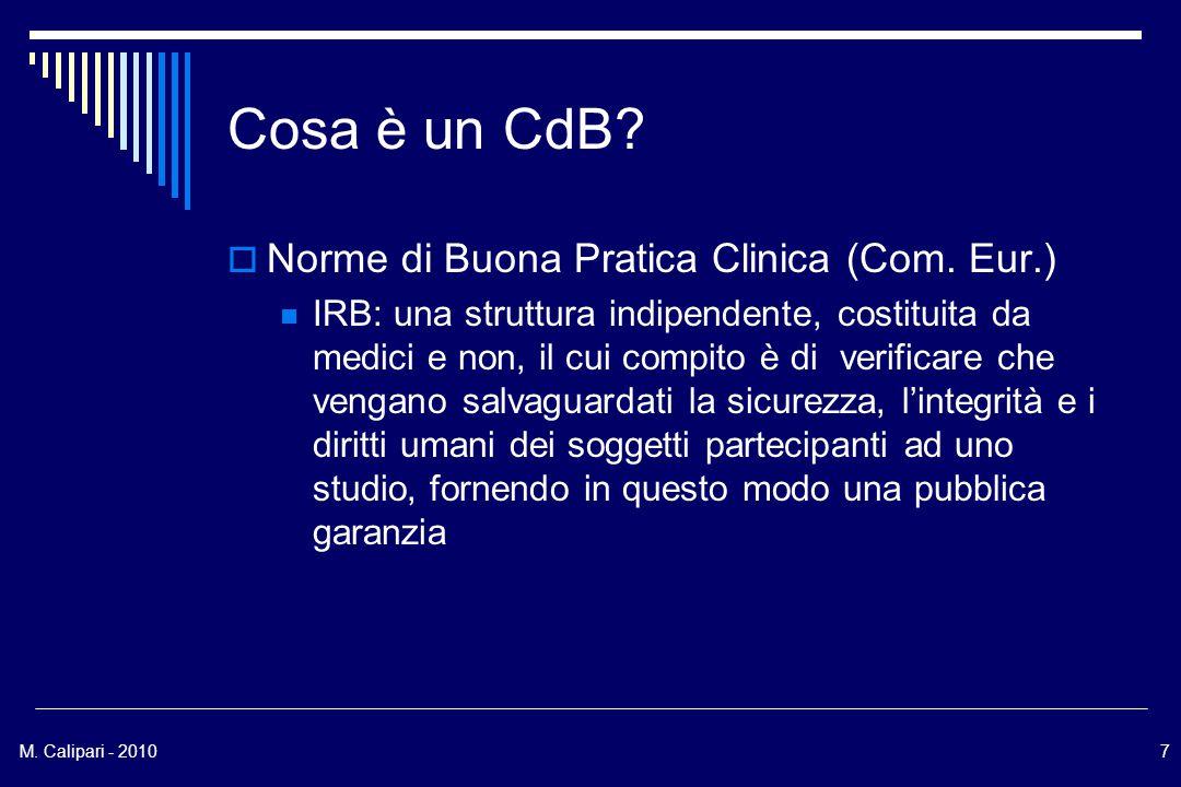 M.Calipari - 20107 Cosa è un CdB.  Norme di Buona Pratica Clinica (Com.