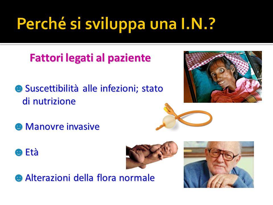 ☻ Suscettibilità alle infezioni; stato di nutrizione ☻ Manovre invasive ☻ Età ☻ Alterazioni della flora normale Fattori legati al paziente