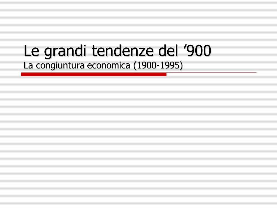 La congiuntura economica (1900-1995) Congiuntura economica PS influenza quella dei PVS.