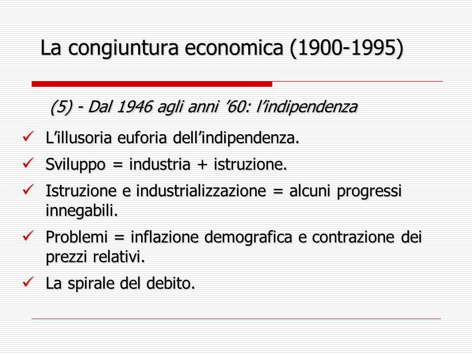 La congiuntura economica (1900-1995) (6) - Dagli anni '60 al 1973 (6) - Dagli anni '60 al 1973 Congiuntura simile al decennio precedente = ma cambia la percezione dei problemi.