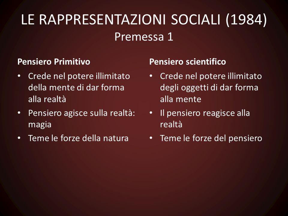 LE RAPPRESENTAZIONI SOCIALI (1984) Premessa 1 Pensiero Primitivo Crede nel potere illimitato della mente di dar forma alla realtà Pensiero agisce sull