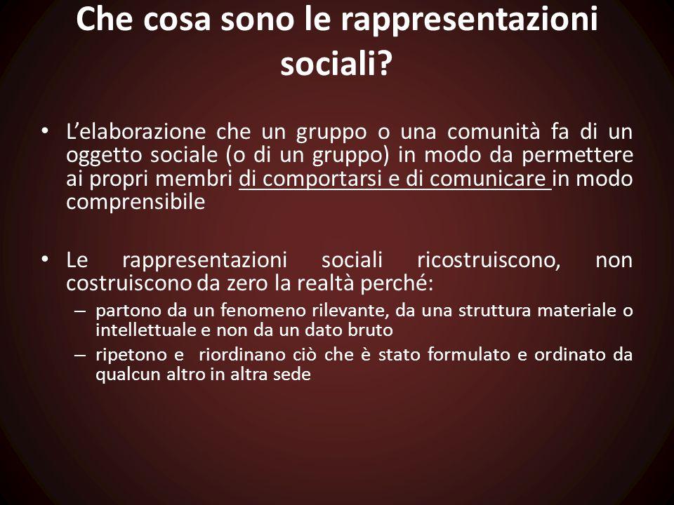 Che cosa sono le rappresentazioni sociali? L'elaborazione che un gruppo o una comunità fa di un oggetto sociale (o di un gruppo) in modo da permettere