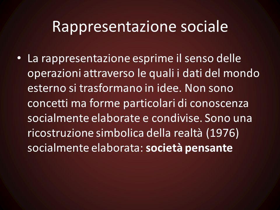 Rappresentazione sociale La rappresentazione esprime il senso delle operazioni attraverso le quali i dati del mondo esterno si trasformano in idee. No