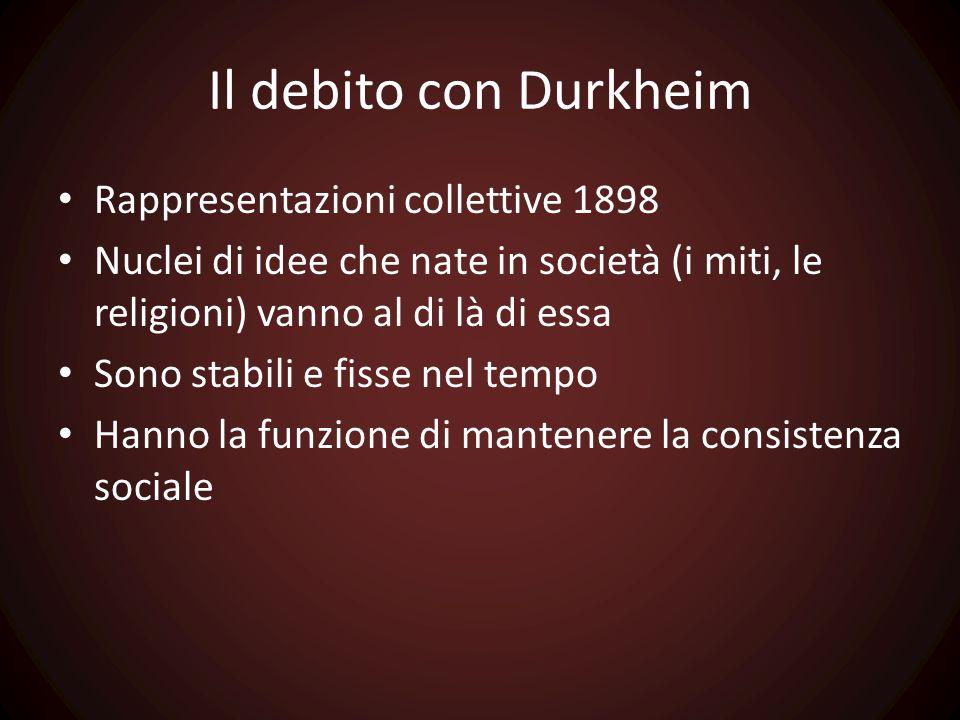 Il debito con Durkheim Rappresentazioni collettive 1898 Nuclei di idee che nate in società (i miti, le religioni) vanno al di là di essa Sono stabili