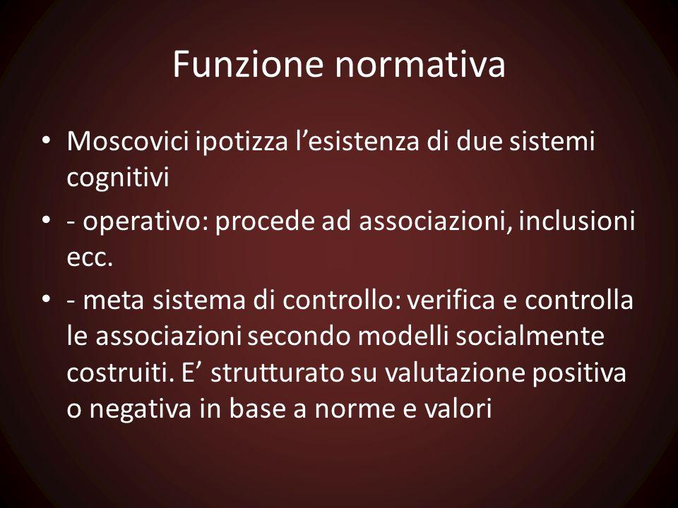 Funzione normativa Moscovici ipotizza l'esistenza di due sistemi cognitivi - operativo: procede ad associazioni, inclusioni ecc. - meta sistema di con